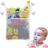 Bath Toy Organizer - Large Quick Dry Mesh Net Bathub Toy Storage - Four Extra Strong Suction Hooks and 3M Stickers for super hold to any wall - BPA Free and Machine Washable - by Vagabond Baby