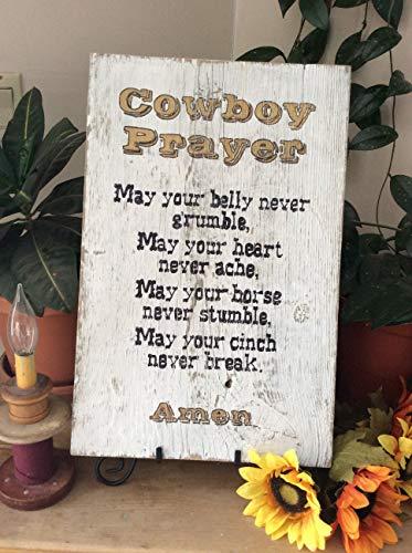 (Adonis554Dan Christian Wall Decor Cowboy Prayer Wood Sign Western Decor Rustic Decor Cowboy Decor Wood Sign Christian Cowboy Western Home Decor)