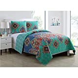MP 3 Piece Blue Teal Red Orange Purple Coral King Quilt Set, Damask Themed Reversible Bedding Medallion Boho Bohemian Exotic Diamond Paisley Aqua Turquoise Chic Trendy Modern Vintage Antique, Cotton
