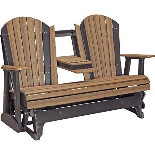 Poly Outdoor Furniture - LuxCraft Recycled Plastic 5' Adirondack Glider Chair With Flip Down Center Console
