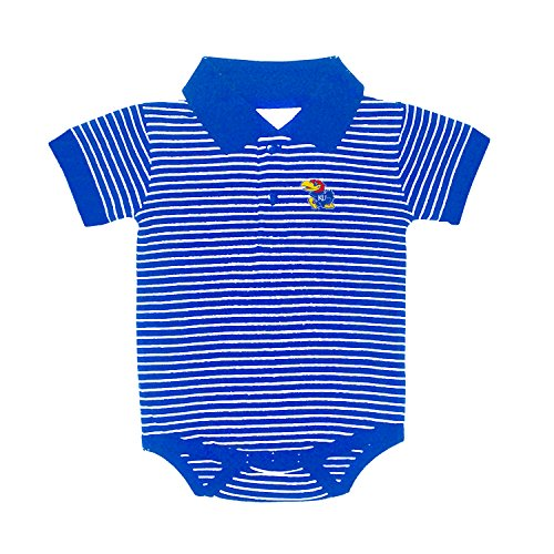 (Kansas Jayhawks NCAA College Newborn Infant Baby Striped Golf Creeper (6 Months))