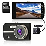 ULU SD420 FHD 1080P Dash Cam Front + Rear 290° Super Wide Angle Dual Channel Lens Car Dashboard Camera Recorder with 4.0'' Large HD Screen, 16GB Card,G-Sensor, Loop Recording, WDR, Super Night Vision