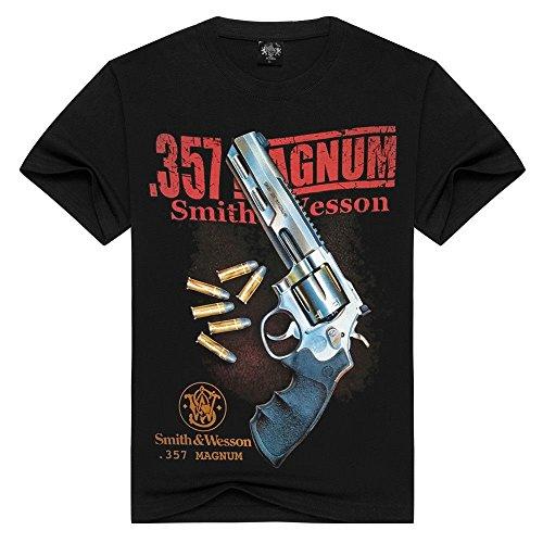 New 3D Print Cotton T-Shirt Revolver Burning Smith&Wesson 357 Magnum (XXXL) Black
