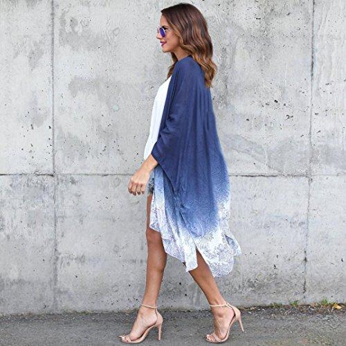 Feitong Blouse Lâche Kimono Cover Été Impression Ups Bleu En Unique Irrégulier Longue Soie Cardigan De Section Cardigans Mousseline Femmes Chic Adeshop a7pvtq