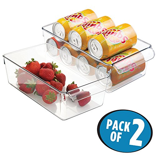 mDesign Mini Portable Fridge Bin for Pop Cans, Salad Dressing, Marinades - Pack of 2, Clear (Storage Refrigerator Can For Pop)