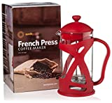 4 Cup Red Coffee Pot French Press Coffee & Loose Leaf Tea Maker, Red (8 Cup, 4 Mug, 34 oz), Heat-Resistant Glass, Bonus Filter, Spoon
