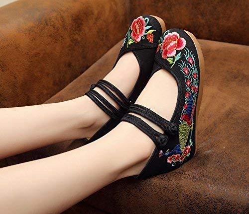 coloré Mode Fuxitoggo Lin Augmentées Taille Désinvolte Semelle Style Féminines Brodées Noir Confortable Chaussures Ethnique Tendon qZCOz