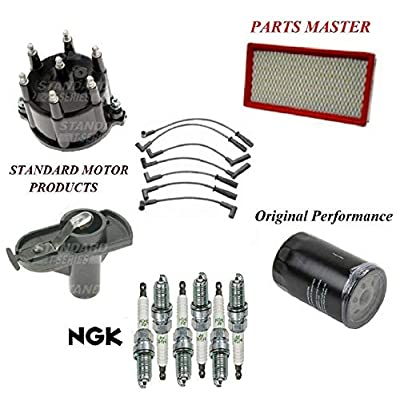 8USAUTO Tune Up Kit Filters Cap Rotor Wire Plugs FIT Jeep Cherokee L6 4.0L 1997-1999: Automotive