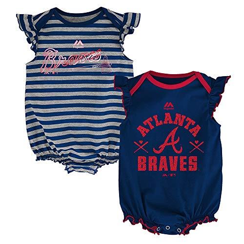 Outerstuff Atlanta Braves MLB Majestic Infant Team Sparkle 2 Pack Frill Creeper Set