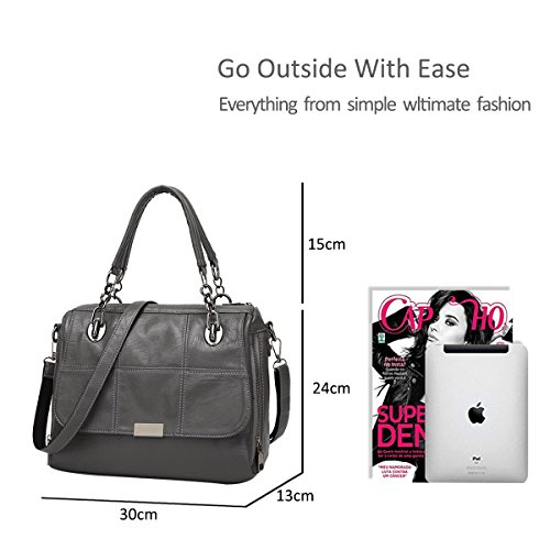 NICOLE Grey Big Handle Handbag Waterproof Tote Purse Bag Durable Green Shoulder Crossbody PU amp;DORIS Women Top Leather Satchel rqgCwrU