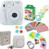 Fujifilm instax mini 9 Instant Camera Smokey White + 20 Prints Full Accessory Kit