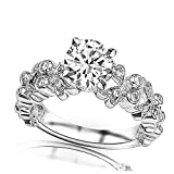 1 Ctw 14K White Gold Butterfly Bezel And Pave Set Round Engagement Ring w/ Round 0.75 Carat Forever One Moissanite Center