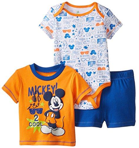 Disney Baby-Boys Newborn Mickey Mouse 3 Pack Soft Bodysuit T-Shirt and Short, Orange, 0-3 Months