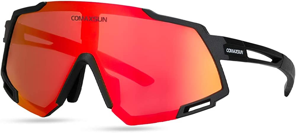 COMAXSUN Polarized Sports Sunglasses with 5 Interchangeable Lenses for Men Women Cycling Running Baseball Glasses