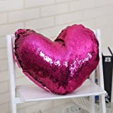 Mermaid Throw Pillow, Two Reversible Sequin Color Heart Shaped Decorative with Pillow Insert, 13''×15'' (Hot Pink)