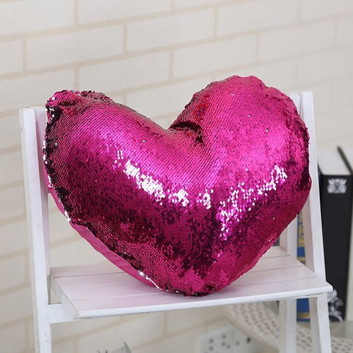 Mermaid Throw Pillow, Two Reversible Sequin Color Heart Shaped Decorative with Pillow Insert, 13''×15'' (Hot Pink) by Poraty