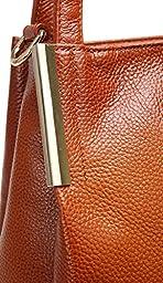 Heshe Women's Leather Designer Handbags Tote Bags Shoulder Bag with Cross Body Strap Satchel for Office Ladies (Sorrel-R)