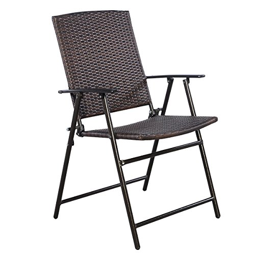 Tangkula 4 pcs folding patio chair set outdoor pool lawn for Outdoor mobel rattan