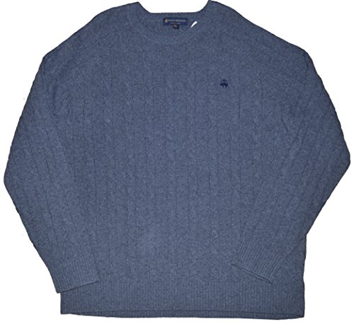 Brooks Brothers Men's Crewneck Italian Yarn Cable Knit Merino Wool Sweater (XX-Large, Grey) ()