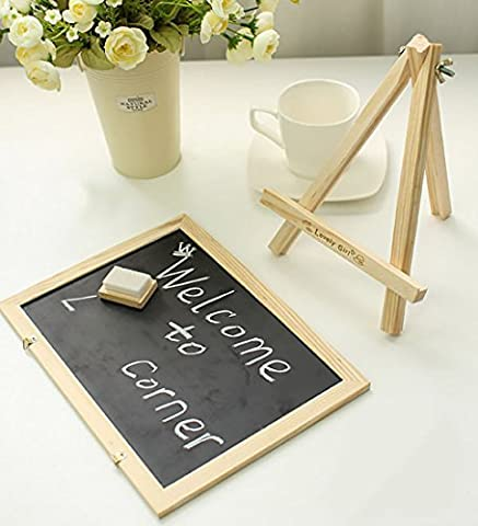 Chalkboard Sign, Double Sided Use Chalkboard and White Board with Chalk Eraser, 3 Chalk Sticks, One Chalk Marker and 2 Magnets, Mini Message Board with Sturdy Tripod by (Chalkboard 2 X 3)