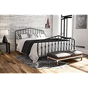 Novogratz Bushwick Metal Bed with Headboard and Footboard | Modern Design | Queen Size - Grey