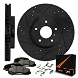 #8: Max KH138781 [ELITE SERIES] Front Performance Slotted & Cross Drilled Rotors with Ceramic Pads & Hardware Combo Brake Kit