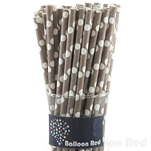 Biodegradable Paper Drinking Straws (Premium Quality), Pack of 100, Polka Dot - Grey / White (Cupcake Costume Pattern)