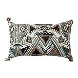 ThymeHome Gaia Rustic Decorative Pillow-100% Cotton Jacquard Decorative Pillow 12×20 inch Multicolor