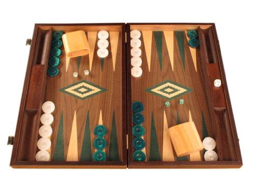 Walnut Wood Backgammon Game Set - Large Board, Brown / (Checker Set Walnut Game Box)