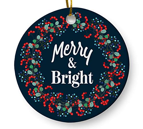 Merry and Bright Christmas Ornament, Floral Wreath Holiday Keepsake Gift, 3