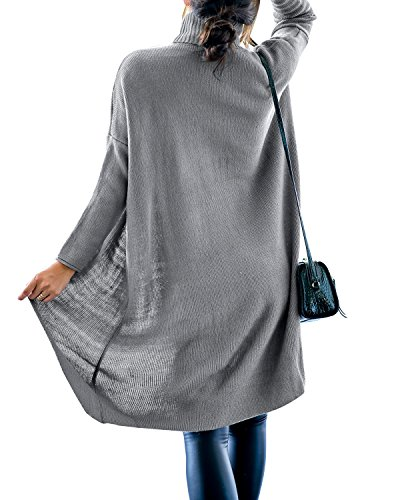fd059342f15 Gikim Women s Casual Plus Size Long Sleeve Chic Loose Knit Turtleneck  Pullover Sweater