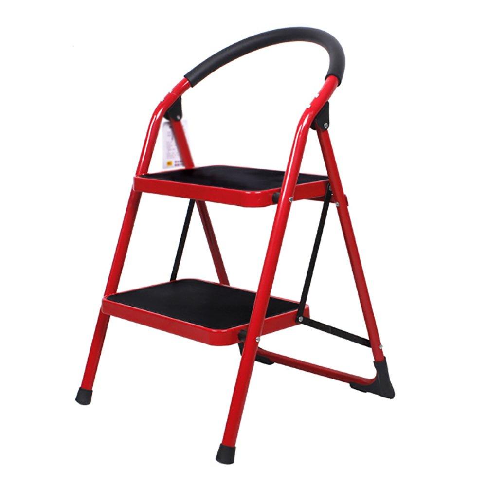 Rouge 3-step RMJAI échelles épaisses de meubles d'étape de 2 étapes   3 étapes échelles se pliantes d'escalier d'intérieur échelle Petit tabouret d'étape Tabourets légers de fer de fer