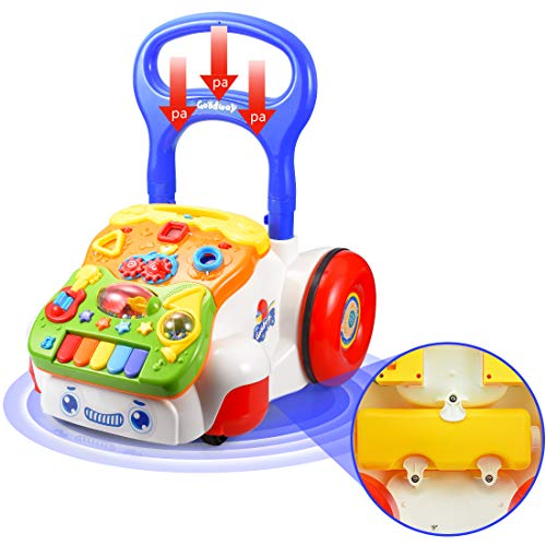 FORSTART Sit-to-Stand Learning Walker Push and Pull Activity Center Music and Light Adjustable-Height Early Dvelopment Toys for 6 Months to 3 Years Old