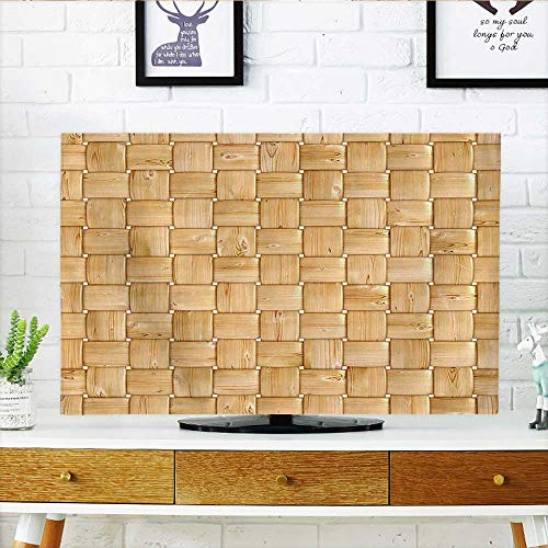 (Auraisehome Dust Resistant Television Protector Collection Illustration of Thic Woven Oak Wood Patterns Natural Simple Harvest Style Contemporary tv dust Cover W35 x H55 INCH/TV)