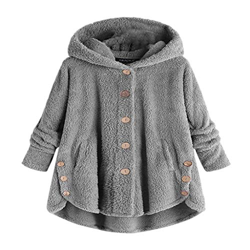 COPPEN Women Coat Button Fluffy Tail Tops Hooded Pullover Loose Sweater