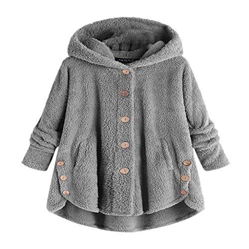 Front Madras Short Plain - Sunhusing Fashion Womens Button-Down Mini Short Coat Fluffy Plush Hooded Pullover Loose Sweatshirt