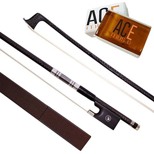 Carbon Fiber Violin Bow 4/4 Full Size With Rosin for Violin Strings, Violin Bow Case and Ebony Frog - Natural Horse Hair - Well Balanced - Great For Electric Violins - Rosin for Violin, Cello, Viola