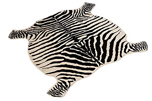 Area Rug Faux Zebra Print Rug 4x4.6 Feet Rug/Mat/Carpets For Home yellowish cream color from Townssilk