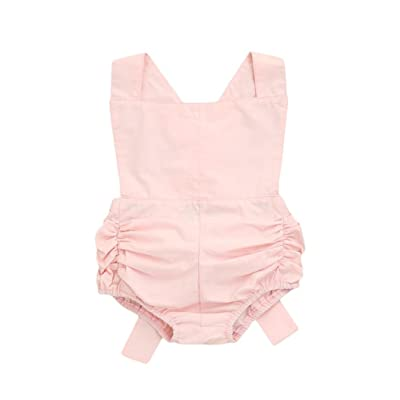 AliveGOT Baby Girls Jumpsuit Newborn Infant Backless Bowknot Clothes Summer Romper Bodysuit Outfits