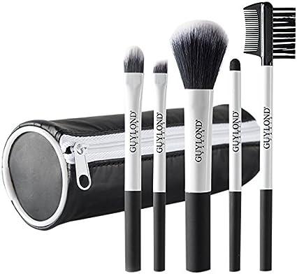 Guylond 5 Piece - Juego de pinceles, brocha y estuche de maquillaje: Amazon.es: Belleza