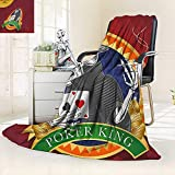 vanfan Warm Microfiber All Season Blanket Background Dead Skeleton Poker King Gambler Vegas Smart Game Graphic Multicolor,Silky Soft,Anti-Static,2 Ply Thick Blanket. (50''x30'')