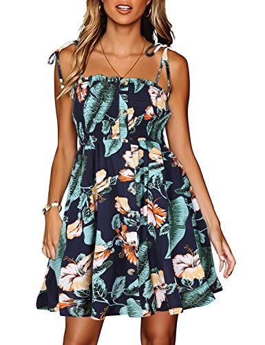 - LEANI Women's Summer Boho Spaghetti Strap Floral Print Button Ruffle Swing Beach Mini Dresses Green