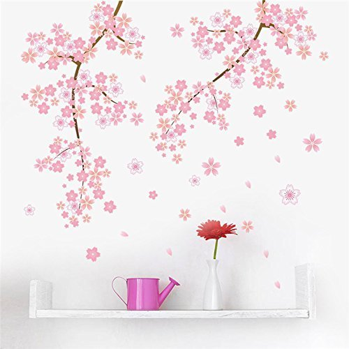 Copter Shop pink Cherry blossoms tree romantic garden diy home decal wall sticker girls bedroom wall art TV background decorative poster Blossom Shop