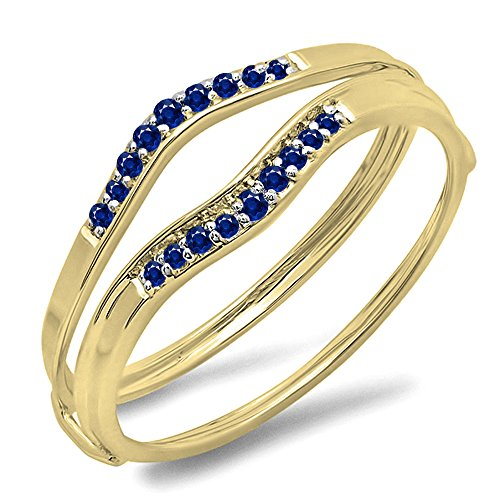 0.12 Carat (ctw) 10K Yellow Gold Round Blue Sapphire Anniversary Enhancer Guard Wedding Band (Size - Sapphire Ring Bridal Guard