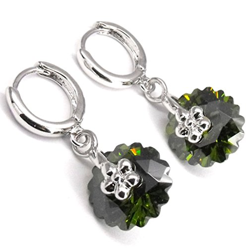 - Floral Round Drop Earrings Crystal Rhinestone Olive Green Cubic Zirconia Costume Jewelry Silver Tone Cut