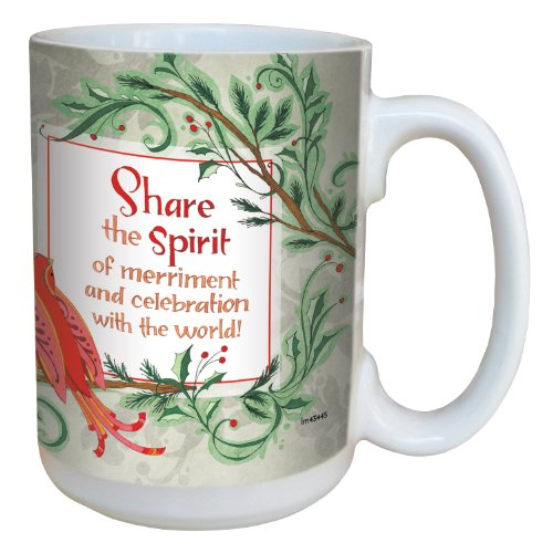 Tree-Free Greetings lm43445 Uplifting Christmas Bird by Robin Pickens Ceramic Mug with Full-Sized Handle, 15-Ounce