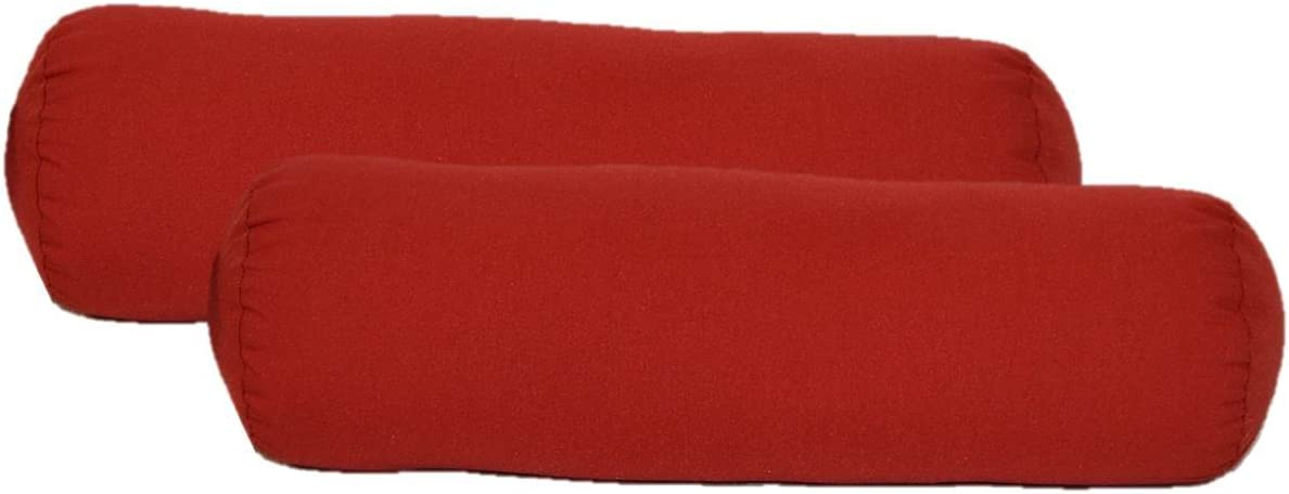 Set of 2 – Indoor Outdoor Jumbo, Large, Over sized, Bolster Neckroll Lumbar Chaise Lounge Decorative Pillows – Solid Red Fabric