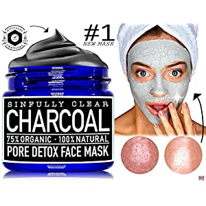 VOTED NUMBER # 1 BEST NEW PRODUCT Sinfully Clear Activated Charcoal Pore Detox Mud Mask, 2.0-ounce - | All Natural & Organic | - Witch Hazel, Salicylic Acid, Bentonite Clay