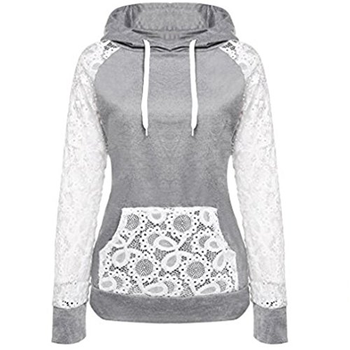 KESEE Clearance Coat ☀ Women Sheer Lace Long Sleeve Hooded Patchwork Sweatshirt With Pockets (S, (Inset Cowl Neck)