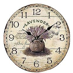 liveleafa Modern Design Wooden Wall Clock Round Vintage For Home Kitchen Office Decor Clock Colourful Creative Decoracion Flower Purple